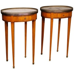 20th Century Pair of French Bedside Tables Gouffé with Marble Top
