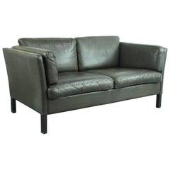 Vintage 1970s Dark Brown Leather Mogensen Style Sofa
