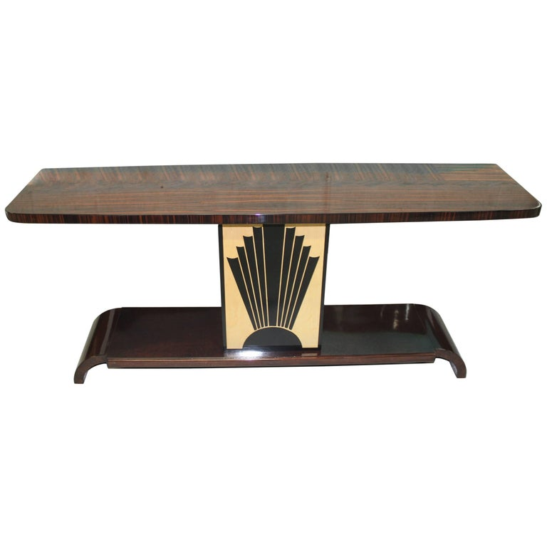 "French Art Deco Exotic Macassar Ebony ""Sunray"" Console Table, circa 1940s For Sale"