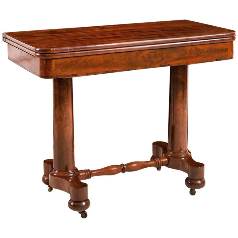 American Empire Meeks and Sons Game Table in West Indies Mahogany, circa 1835