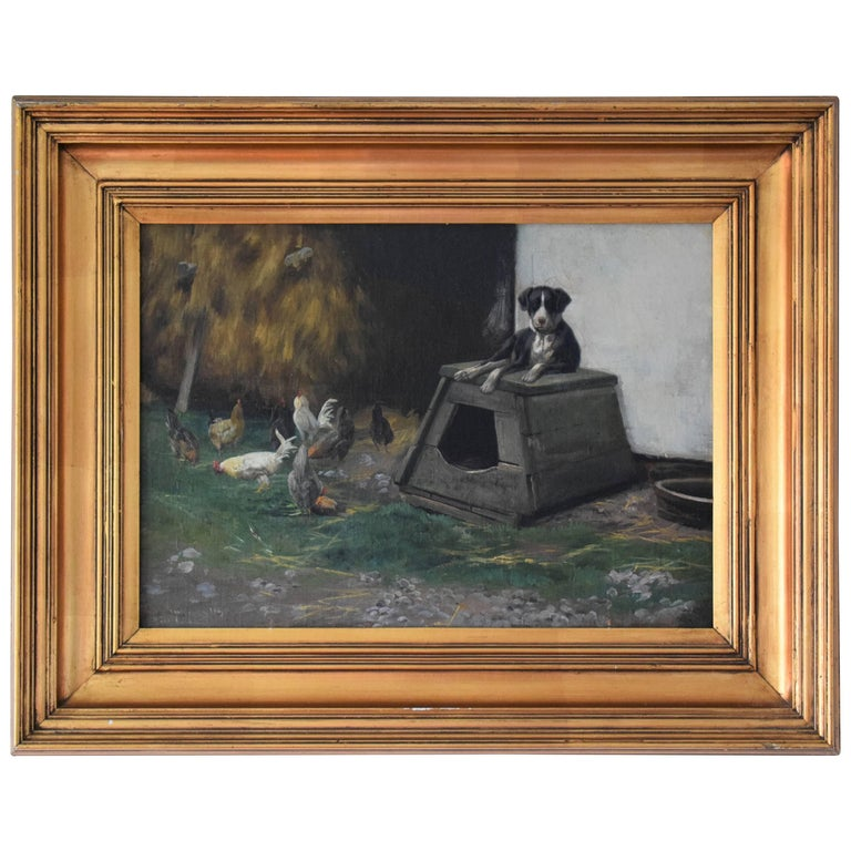 Late 19th Century Oil Painting of Dog and Chickens by Simon Simonsen