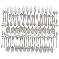 Belgian Silver Flatware Set for 12 Service 60 Pieces by Wolfers Brothers