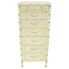 Tall Faux Bamboo Decorated Seven Drawers Lingerie High Chest Dresser