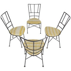Set of Four Wrought Iron Outdoor Chairs Heart Shape Seats