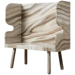 Hand-Painted Plank Settle Bench in Tulipwood by Sue Skeen for the New Craftsmen