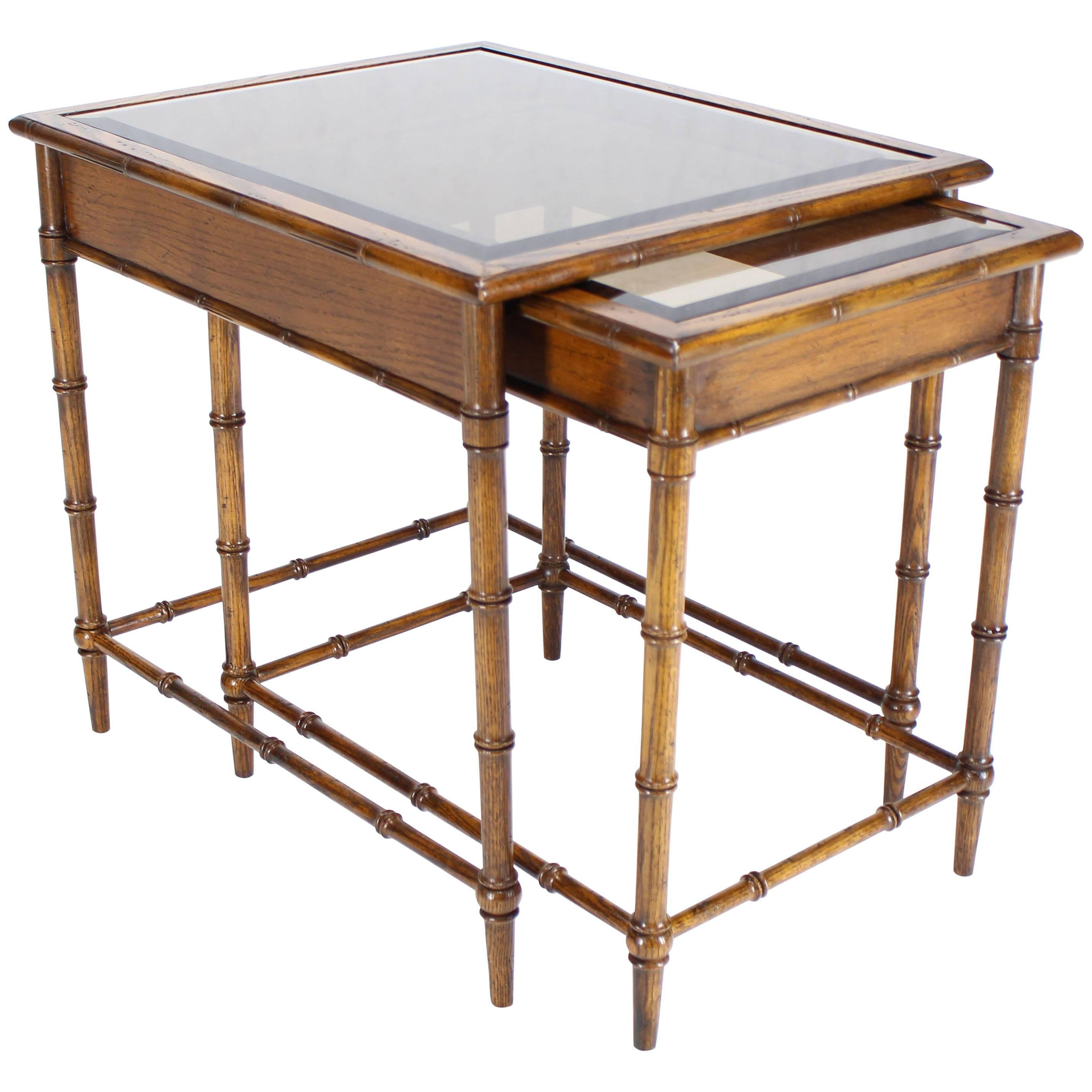 Set Of Nesting Faux Bamboo Smoked Glass Top End Or Side Tables