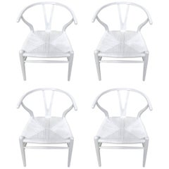 Set of Four Hans Wegner Wishbone Chairs, CH24 in White