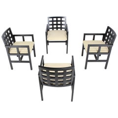 Set of Four Black Side Dining Chairs by Ward Bennet for Brickel Associates
