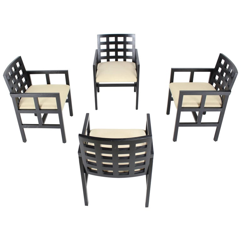 Set of Four Black Side Dining Chairs by Ward Bennet for Brickel Associates 1