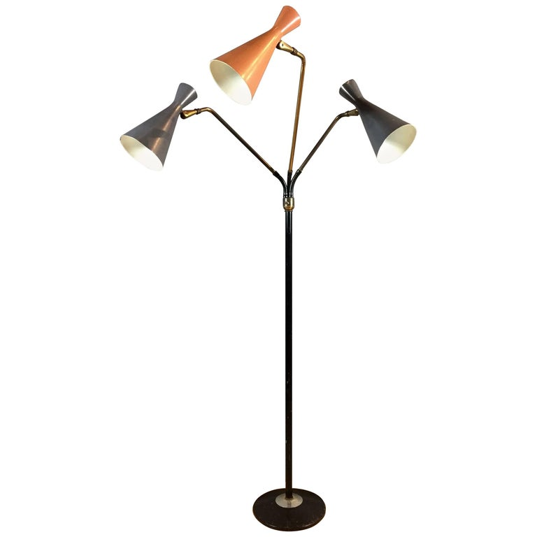 American modern articulated three shade metal and brass for Led articulated floor lamp