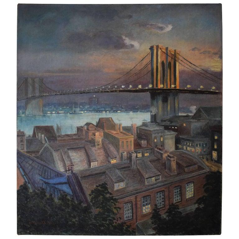 Early 20th Century, Large Painting of Brooklyn Bridge New York, 1913