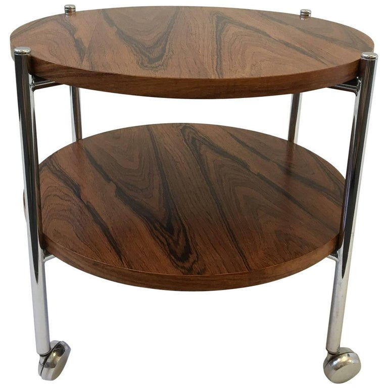 Rosewood and Chrome Two-Tier Folding Side Table