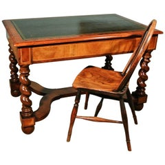 Beautiful Victorian Walnut Writing Desk of William and Mary Design