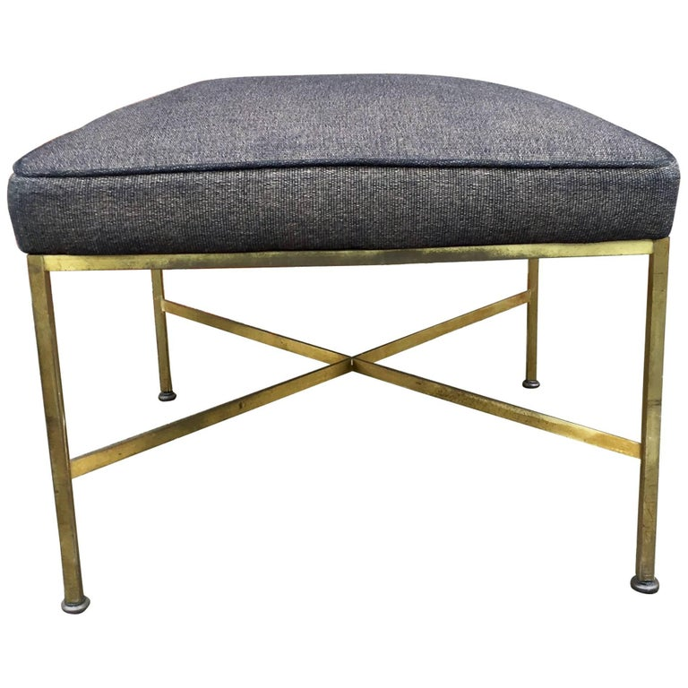 Paul McCobb Brass X-Stretcher Stool 1