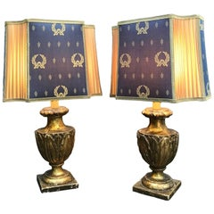 Pair of Italian Empire Table Lamps, Carved Giltwood Portapalme Vases, circa 1820