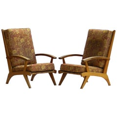 Pair of Mid-Century Lounge Chairs Open Armchairs 1950s to Recover