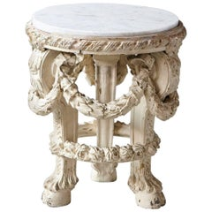 Victorian Side Table with Detailed Carvings Paint Finish and Marble Top