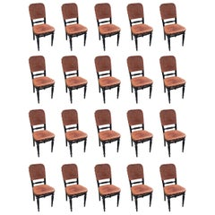 Exceptional Set of 20 Thonet Chairs, with G. Gassmann Wien Leather, circa 1900