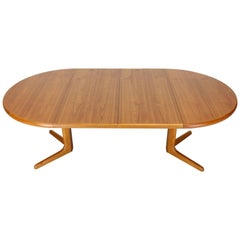 Danish Round Mid-Century Modern Teak Dining Table with Two Leaves