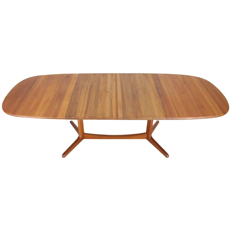 Solid Teak Danish Mid-Century Modern Dining Table with Two Leafs For Sale