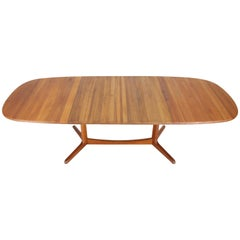 Solid Teak Danish Mid-Century Modern Dining Table with Two Leafs