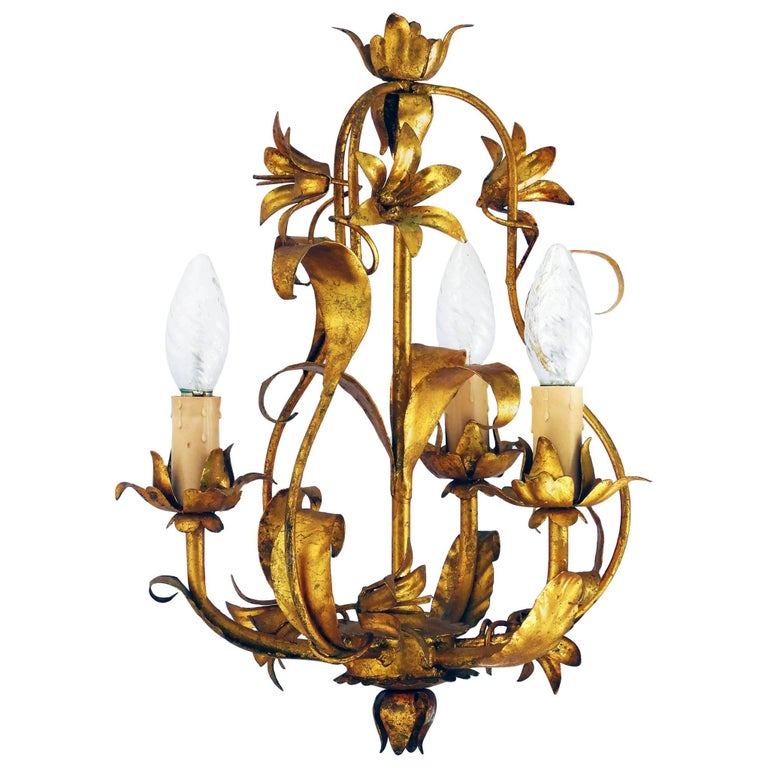 Mid-Century Chandelier Gold Tole circa 1950 French Toleware Cage Light