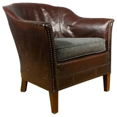 English 1940s Studded Leather Club Chair, Herringbone Cover