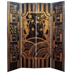 Very Decorative 1925 French Art Deco Lacquered Screen