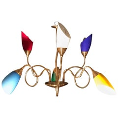 Amusing Stilnovo Brass Chandelier