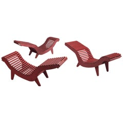 Three Deep Red Klaus Grabe Chaise Longues