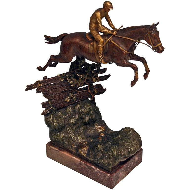 Vienna Bergman, N Bronze Jockey Riding on Jumping Horse Made, circa 1920 For Sale