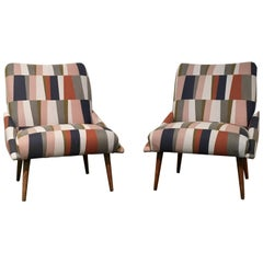 Pair of Restored Mid-Century Modern Slipper Chairs