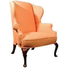 Fine George III Mahogany Framed Wing Armchair