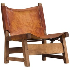 Danish Hunting Chair with Patinated Cognac Leather