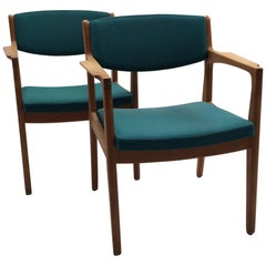 1960s Set of two Erik Buch Armchairs in Oak and Blue/Green Fabric, Orum Mobler