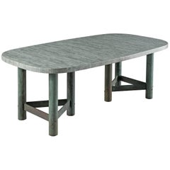 Jan Vlug Green Marble and Bronze Table, 1970s