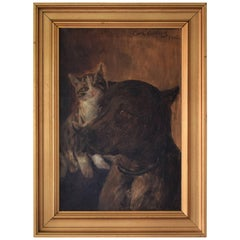 Early 20th Century Oil Painting of Dog and Cat by Carl Carlsen