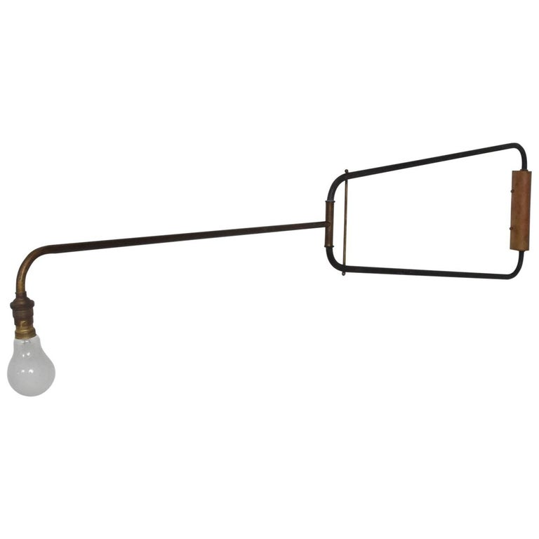 Mid-Century Modern French Industrial Wall Sconce after Jean Prouve