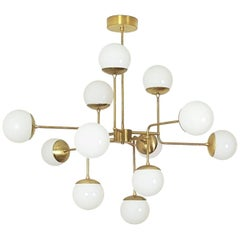 Model 420 Italian Modern Brass & Glass Chandelier by Blueprint Lighting 2017