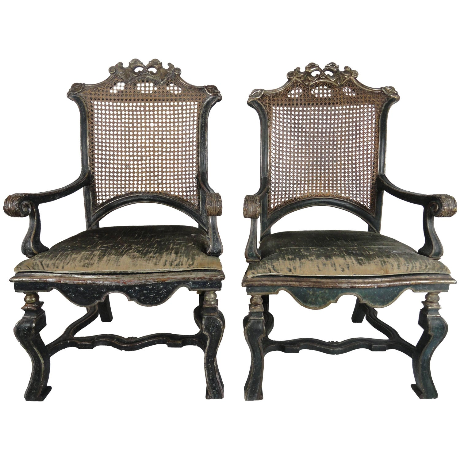 18th Century Pair of Italian Louis XIV Caned Fauteuils For Sale at