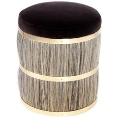 Contemporary 'Thing 2' Stool Pouf Ottoman with Brass and Horse Hair by Konekt