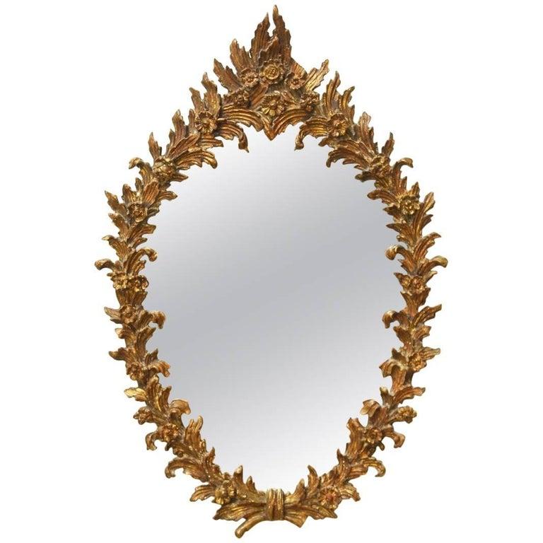 Italian Rococo Gilt Floral Wreath Oval Mirror