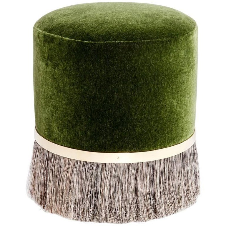 Contemporary 'Thing 3' Stool Pouf Ottoman with Brass and Horse Hair by Konekt