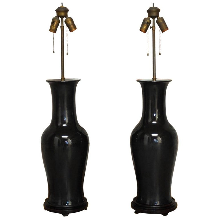 Pair of Chinese Black Noir Porcelain Vase Table Lamps