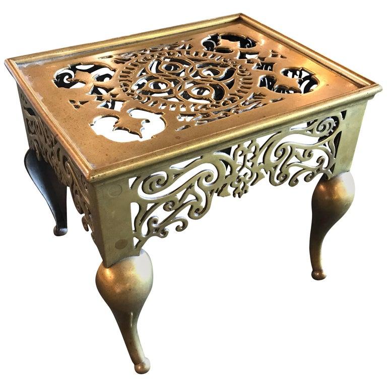 English Regency Brass Footman Side Table For Sale