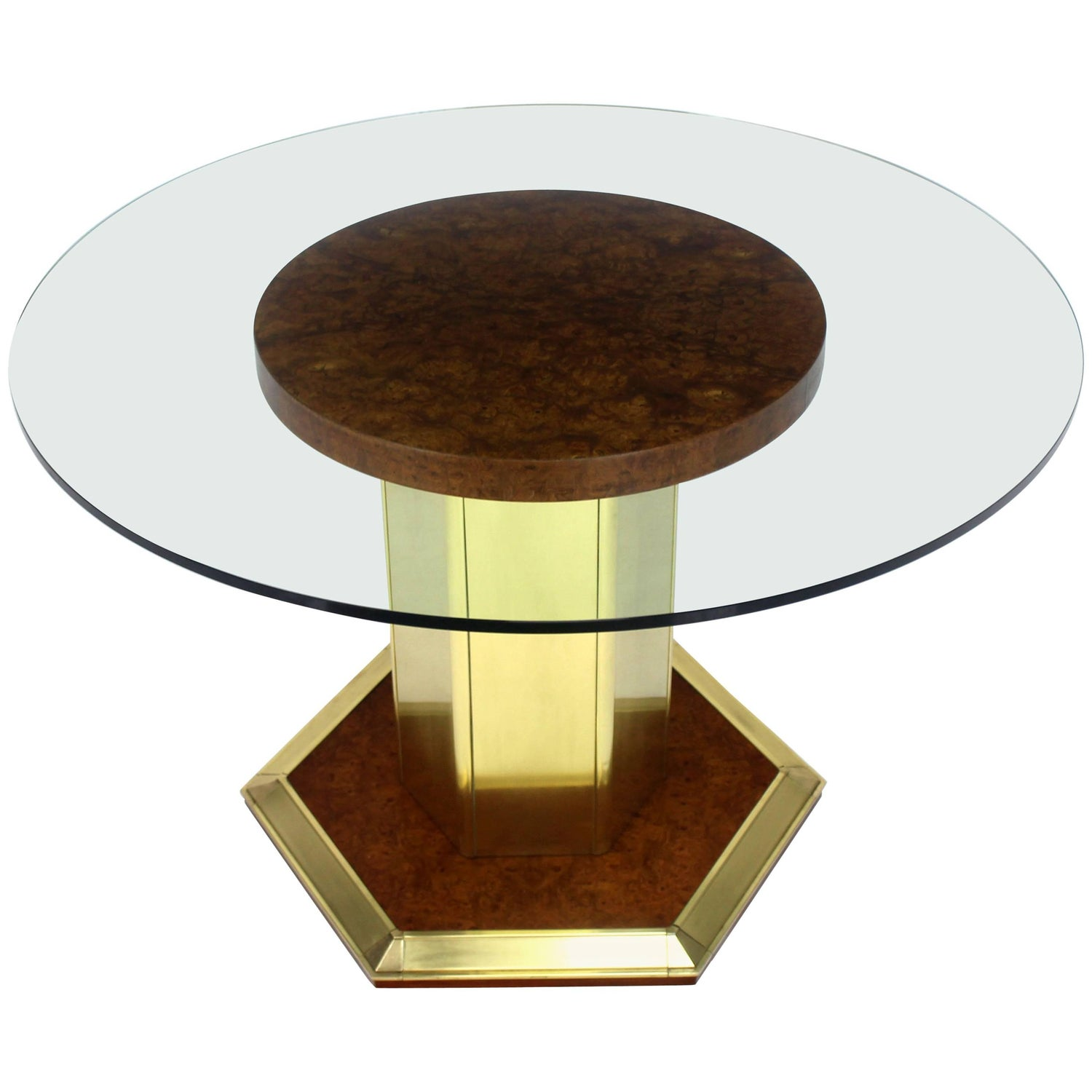 Round Brass Burl Wood Glass Top Center Dining Conference Table