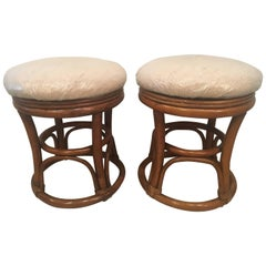 Pair of Vintage Rattan Stools Benches Tropical Palm Beach