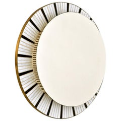 1960s Illuminated Round Mirror Edged with Black and White Mosaic