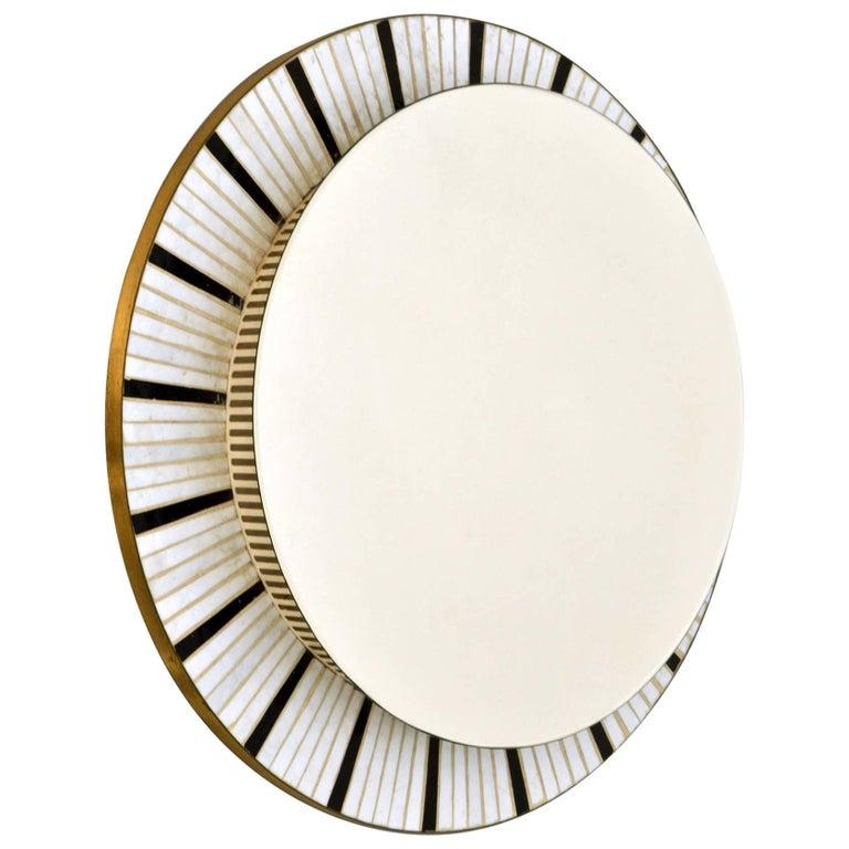 1960s Illuminated Round Mirror Edged with Black and White Mosaic
