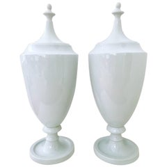 Pair Of Contemporary Ceramic Glaze Lidded Floor Urns